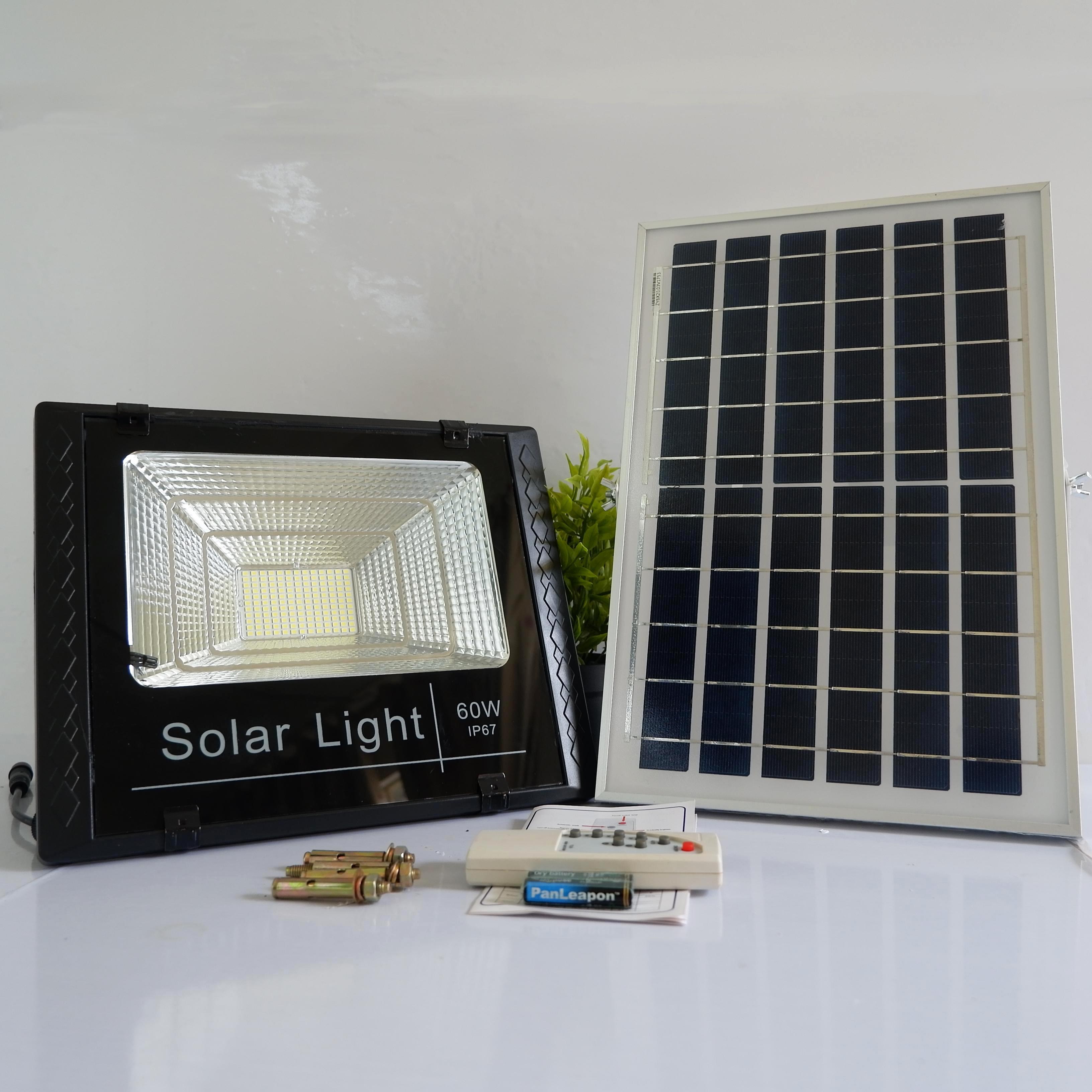 Đèn pha led năng lượng mặt trời 60w - siêu bền, an toàn, tiết kiệm-hàng chính hãng