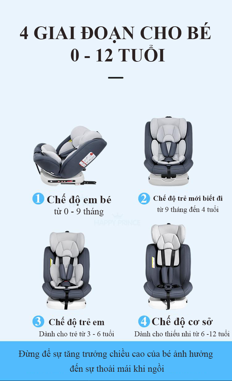 Ghế ô tô 2 chiều CHUẨN ISO 9001, điều chỉnh 4 tư thế từ nằm tới ngồi và có thể điều chỉnh độ cao 7 cấp cho bé từ 0-12 tuổi (xám) 8