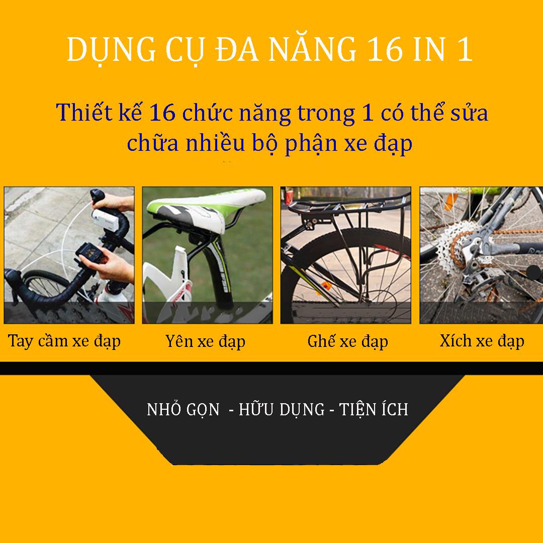 Dụng cụ đa năng 16 in 1 VK201 sửa xe đạp móc EDC kết hợp tua vít và cờ lê điều chỉnh màu đen