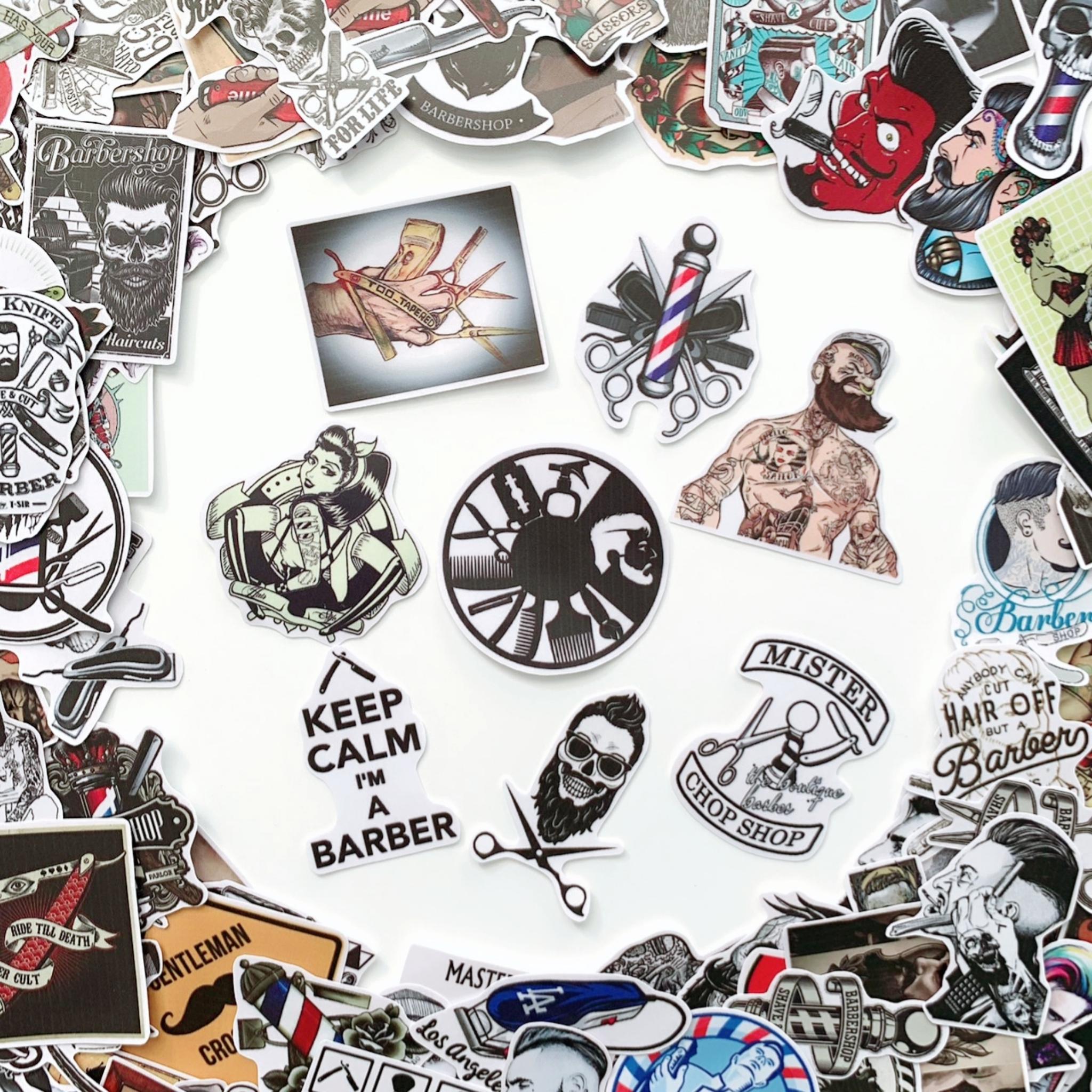Bộ 20 Sticker Barber Shop (2020) Hình Dán Chống Nước Decal Chất Lượng Cao Trang Trí Cửa Hàng Cắt Tóc Nam, Va Li Du Lịch, Xe Đạp, Xe Máy, Laptop, Nón Bảo Hiểm, Máy Tính Học Sinh, Tủ Quần Áo, Nắp Lưng Điện Thoại