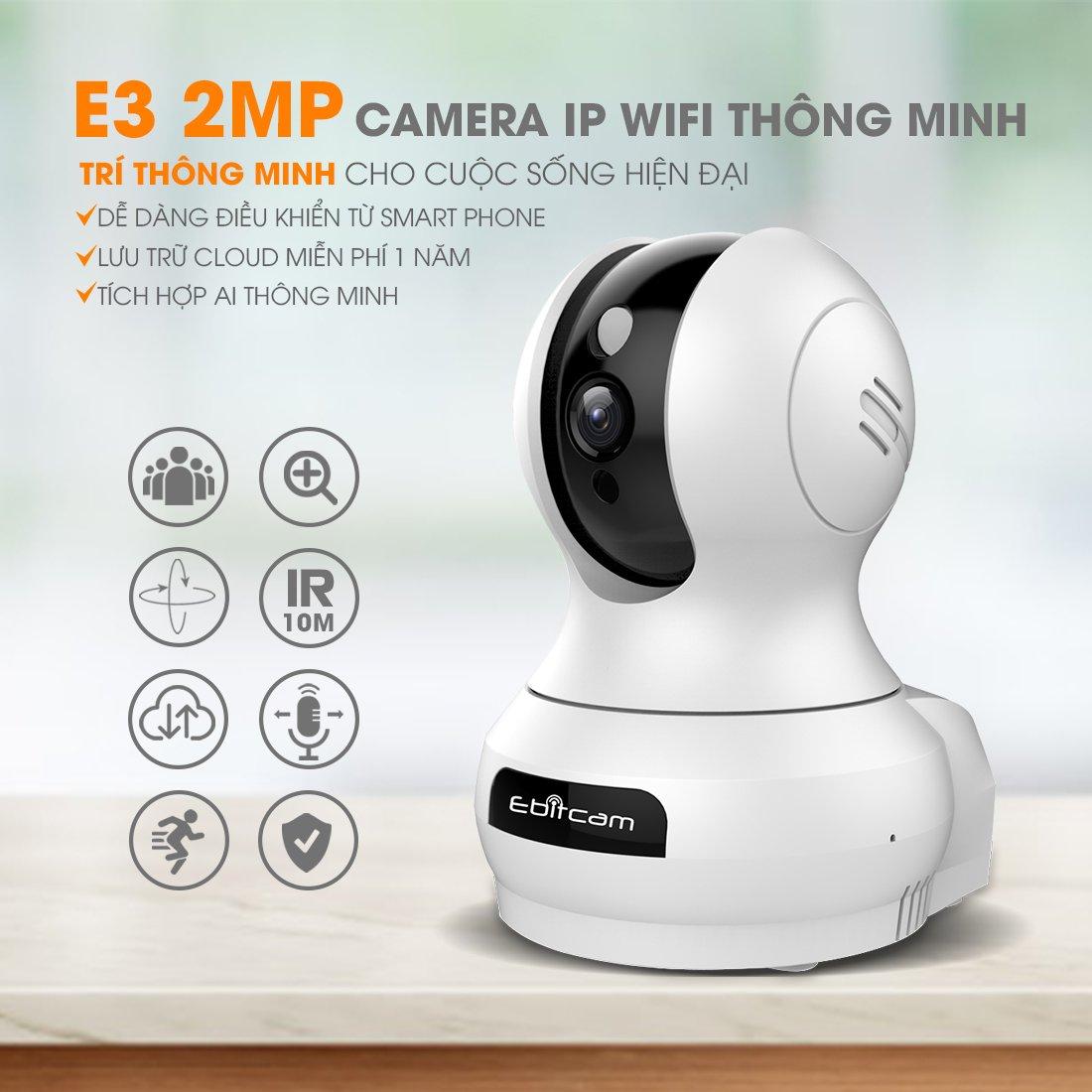 Camera Ip Wifi EbitCam E3 2MP Full HD 1080P - Kèm Thẻ Ebitcam 32GB - Hàng Chính Hãng