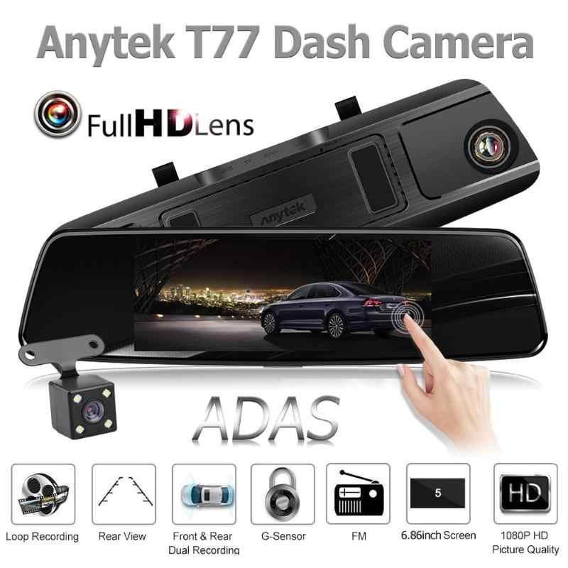 Camera Hành trình ô tô Anytek T77 Full HD (1920*1080P) - Cam gương, màn hình 7 inch cảm ứng, Quay 2 mắt trước sau