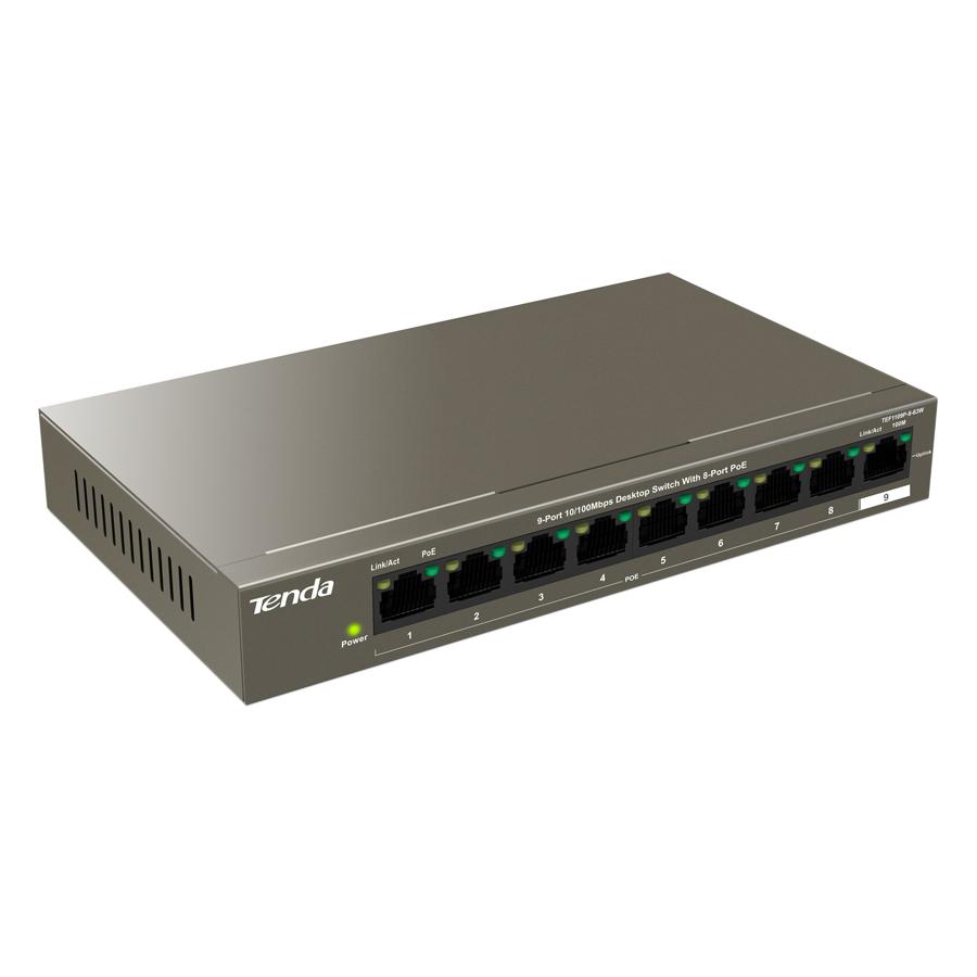 Bộ Chia Mạng Switch Để Bàn Tenda TEF1109P Cổng 10/100Mbps Với 8 Cổng PoE - Hàng Chính Hãng