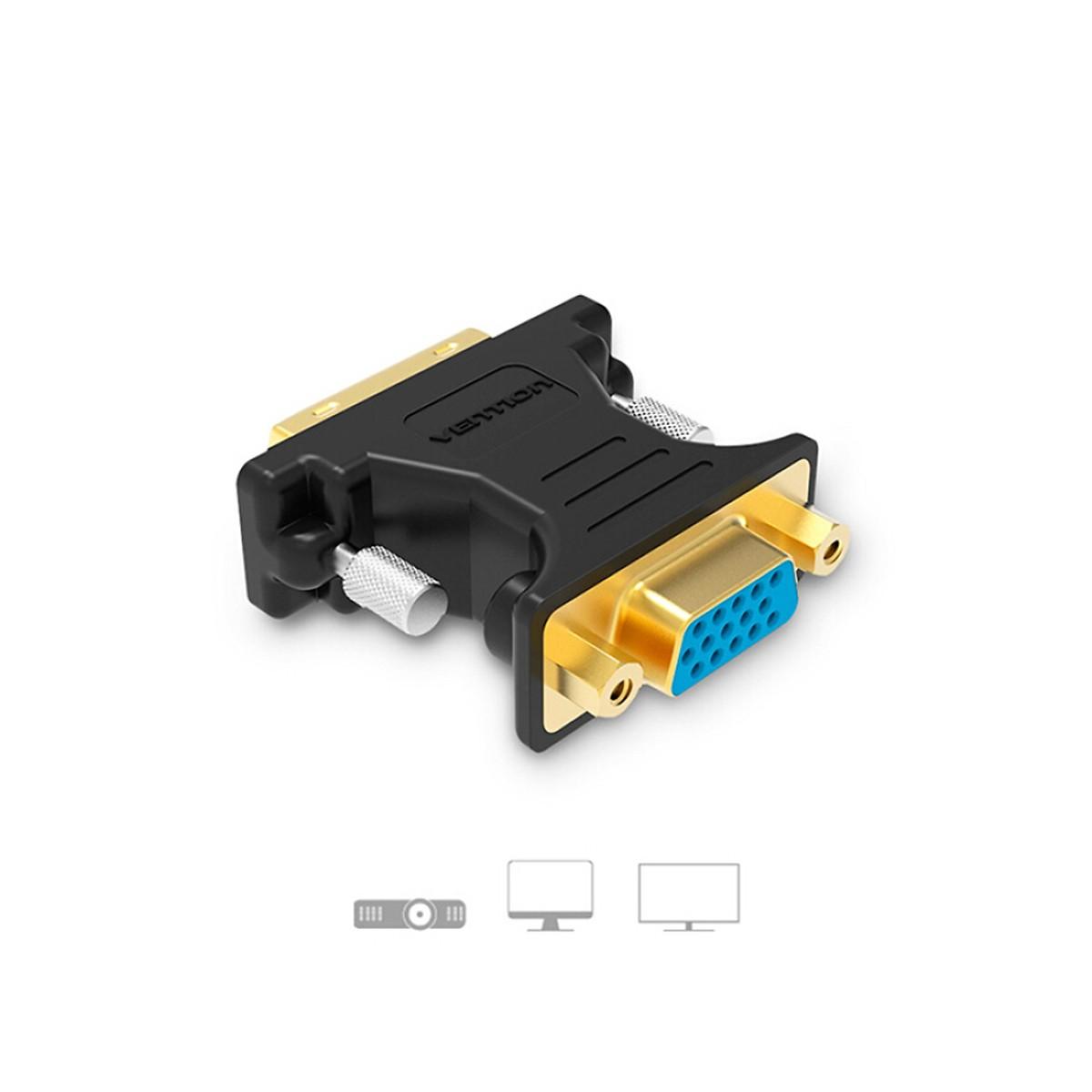 Đầu chuyển VGA to DVI(24+5) Vention DV380VG màu đen - Hàng Chính Hãng