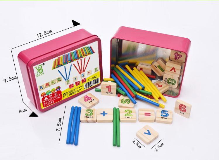 Đồ chơi bảng chữ cái gỗ và que tính học toán cho bé (giáo cụ montessori cho trẻ từ 3 tuổi)