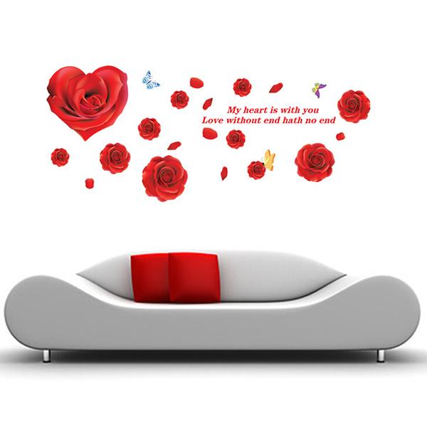 Decal Dán Tường Họa Tiết Hoa Hồng Đỏ PK128 (60 x 150 cm)