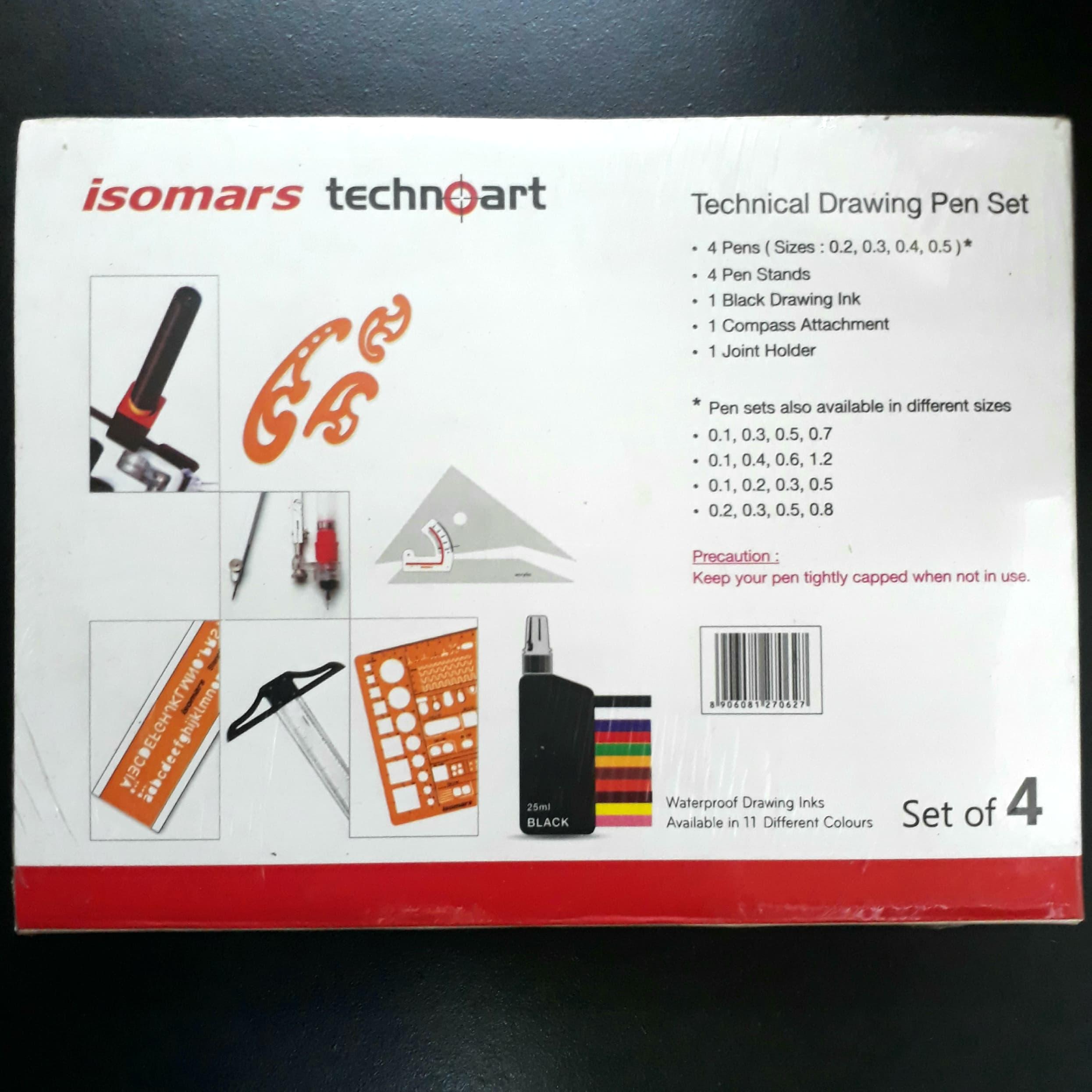 Bộ Bút Vẽ Kỹ Thuật  ISOMARS Technoart Drawing Set Of 4