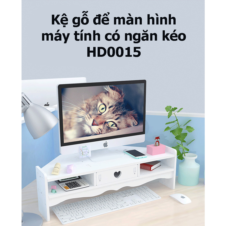 Kệ gỗ để màn hình máy tính có ngăn kéo tiện dụng HD00015
