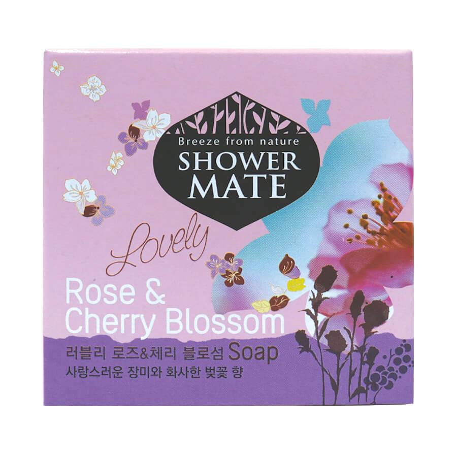 Xà bông tắm Showermate Rose & Cherry lưu hương Hàn Quốc 100g tặng thêm móc khóa