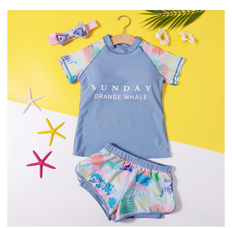 Bộ bơi bé gái lớn, dáng 2 mảnh cộc tay quần sooc đùi thể thao, màu sắc trẻ trung, áo tắm trẻ em nữ size đại từ 25 đến 60kg   BT37