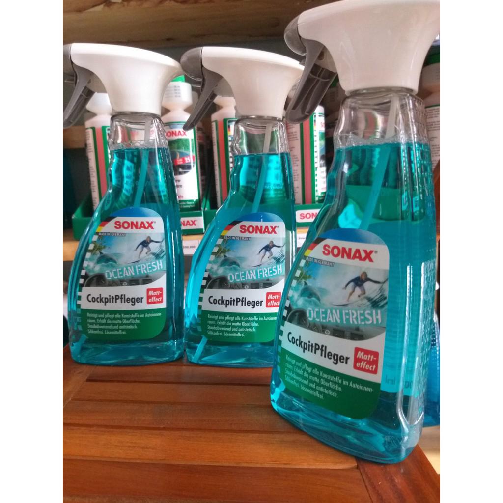 Bảo dưỡng, làm sạch nhựa trong. Mùi Đại Dương Ca- ri-bê ban mai SONAX Cockpit Spray Matt Effect Ocean-fresh 364241 (500 ml)