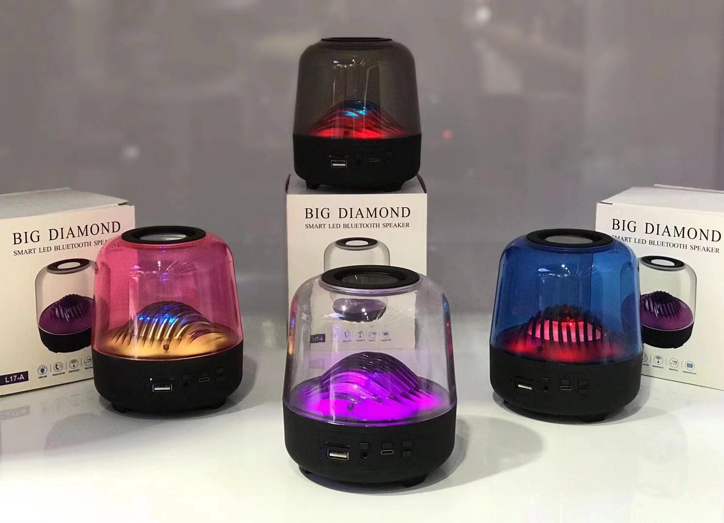 Loa bluetooth LANITH có đèn nháy đổi màu theo nhạc LBD17 trong suốt cao cấp – Tặng dây cáp sạc 3 đầu - Loa bluetooth đổi màu trong suốt hỗ trợ thẻ nhớ, USB - Hàng chính hãng – LBD00017.CAP0001