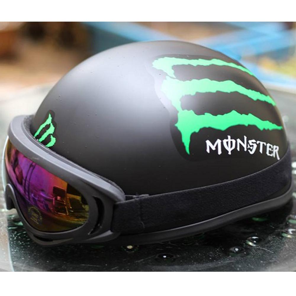 Mũ bảo hiểm 1/2 Quái Vật + Tặng kính UV chống bụi - N087