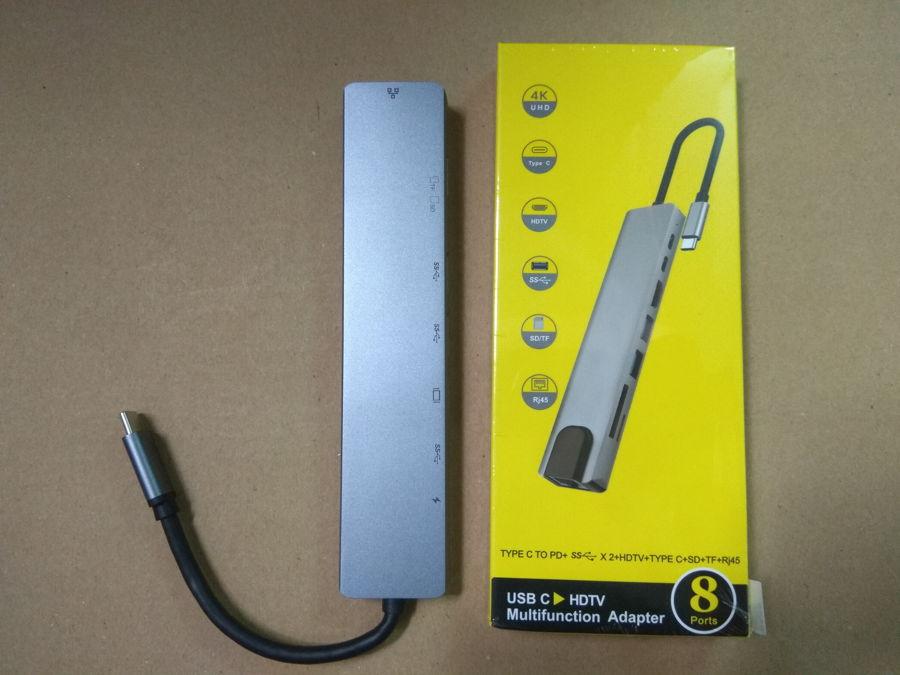 Cổng chuyển USB 8 in 1 HDMI 4K 60Hz/ USB-C Hub/ TF/ SD/ RJ45 1000Mbps/ USB 3.0 cho Macbook, PC và Devices - 8in1-1 4K 60Hz
