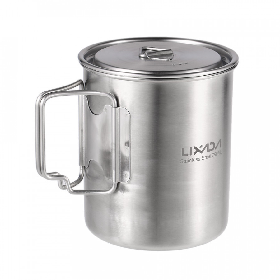 Lixada 750ml Cup Outdoor Stainless Steel Water Cup Mug With Foldable Handles And Lid For Camping Hiking Backpacking - Cup