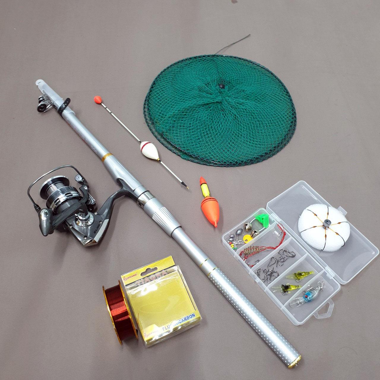 Bộ cần câu máy Percast màu bạc + máy câu cá CL kim loại + dây câu + bộ phao lưỡi và set phụ kiện + giỏ đựng cá