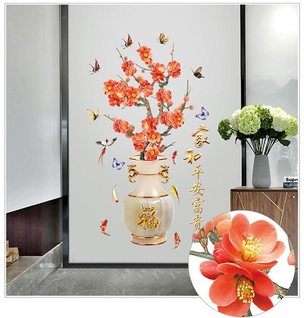 Decal Bình hoa đào 3D ngày tết Amy DH098 (162 x 92 cm)