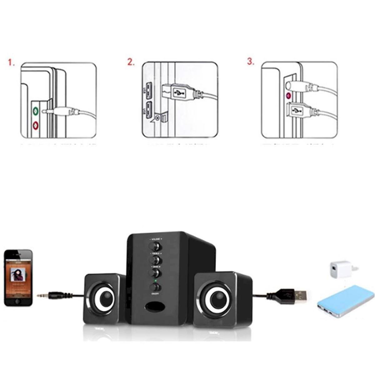 Combo Bộ 3 Loa Máy Tính USB D-202 + Hộp Quẹt Bật Lửa Khò Kiêm Đồng Hồ Cầm Tay (Màu Ngẫu Nhiên)