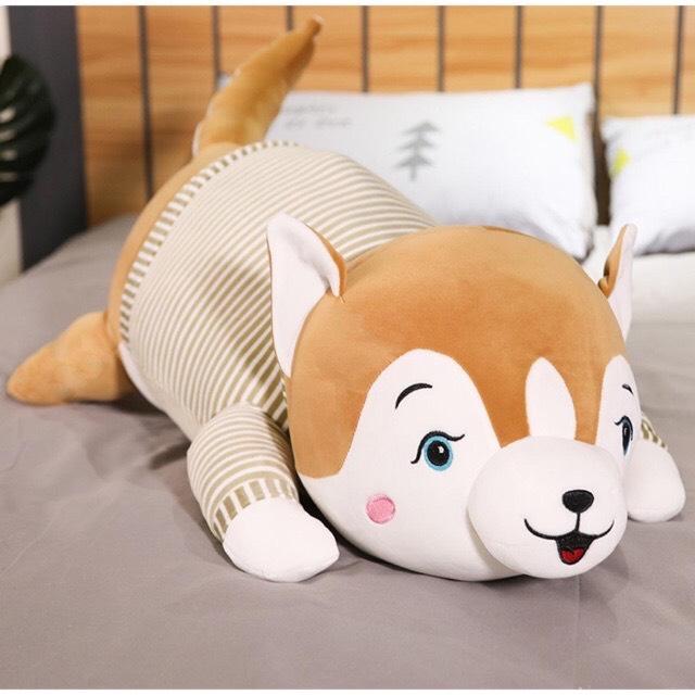 Gấu bông chó siba dễ thương ( mẫu mặc áo - 40cm) - Giao mầu ngẫu nhiên