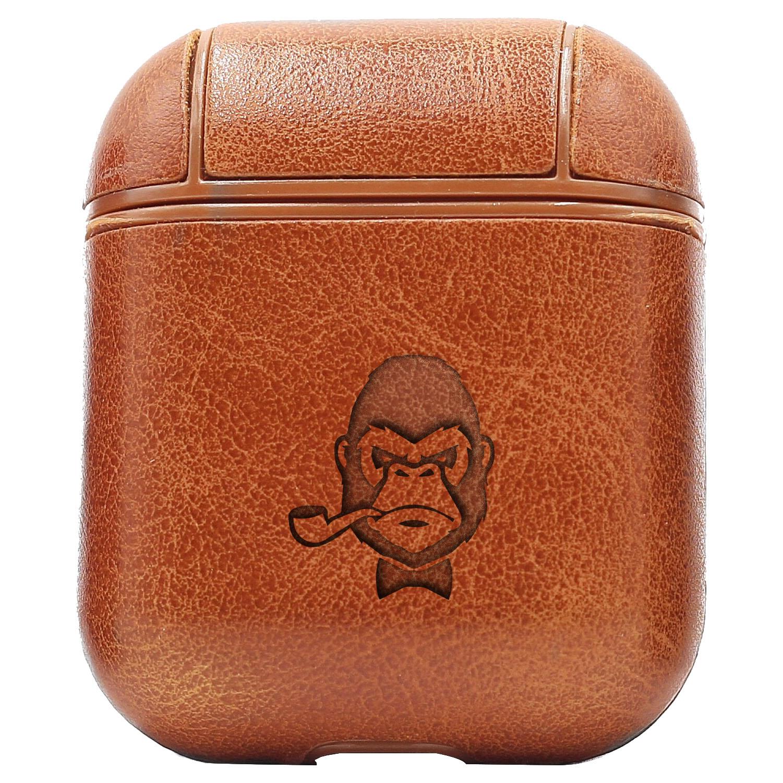 Bao Da Cover Dành Cho Apple Airpods 1 / 2 Premium  Khắc Hình Khỉ Hút Thuốc (Smoking)