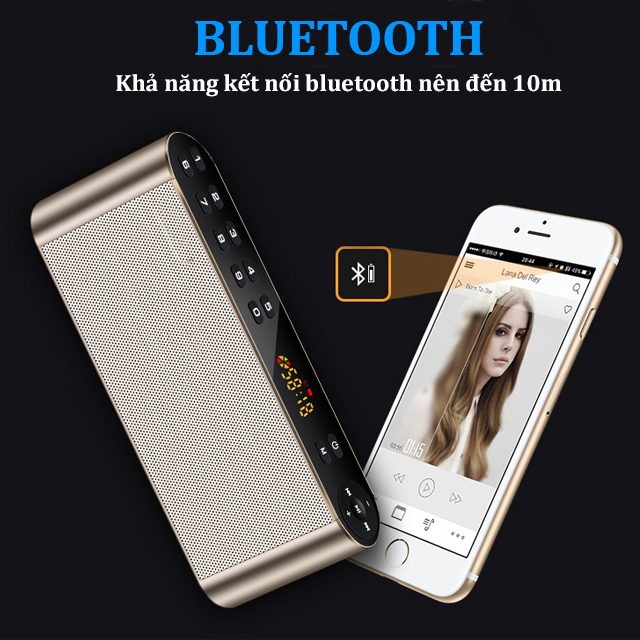 Loa Bluetooth Không Dây Q8, Kiêm Đài FM, Phím Bấm Cảm Ứng Siêu Nhạy