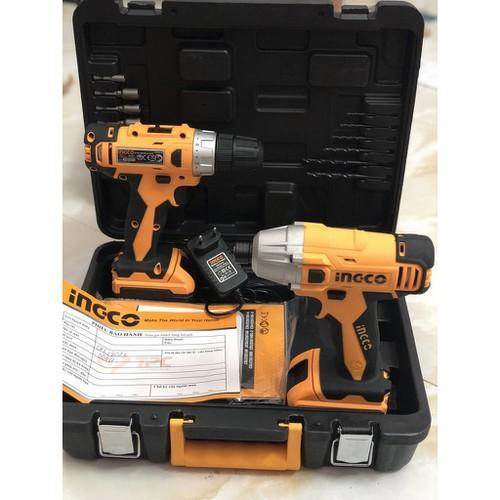 18V Bộ combo máy khoan và máy siết vít dùng pin INGCO CKLI18021