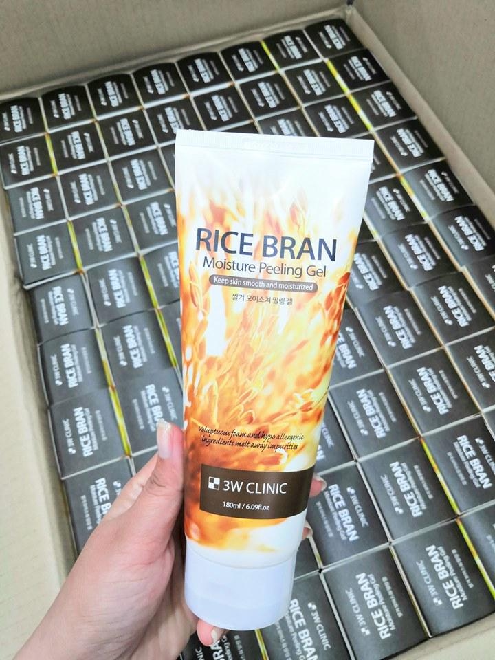 Gel Tẩy Tế Bào Chết Gạo 3W Clinic Gạo Rice Bran Moisture Peeling Gel 180ml tặng 2 mặt nạ Jant Blanc