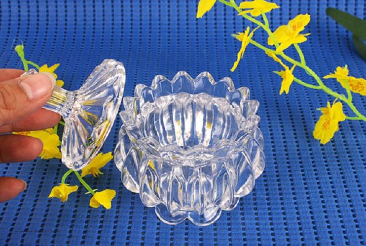 Combo 2 Hũ thủy tinh đựng kẹo mứt Tết hình bông sen