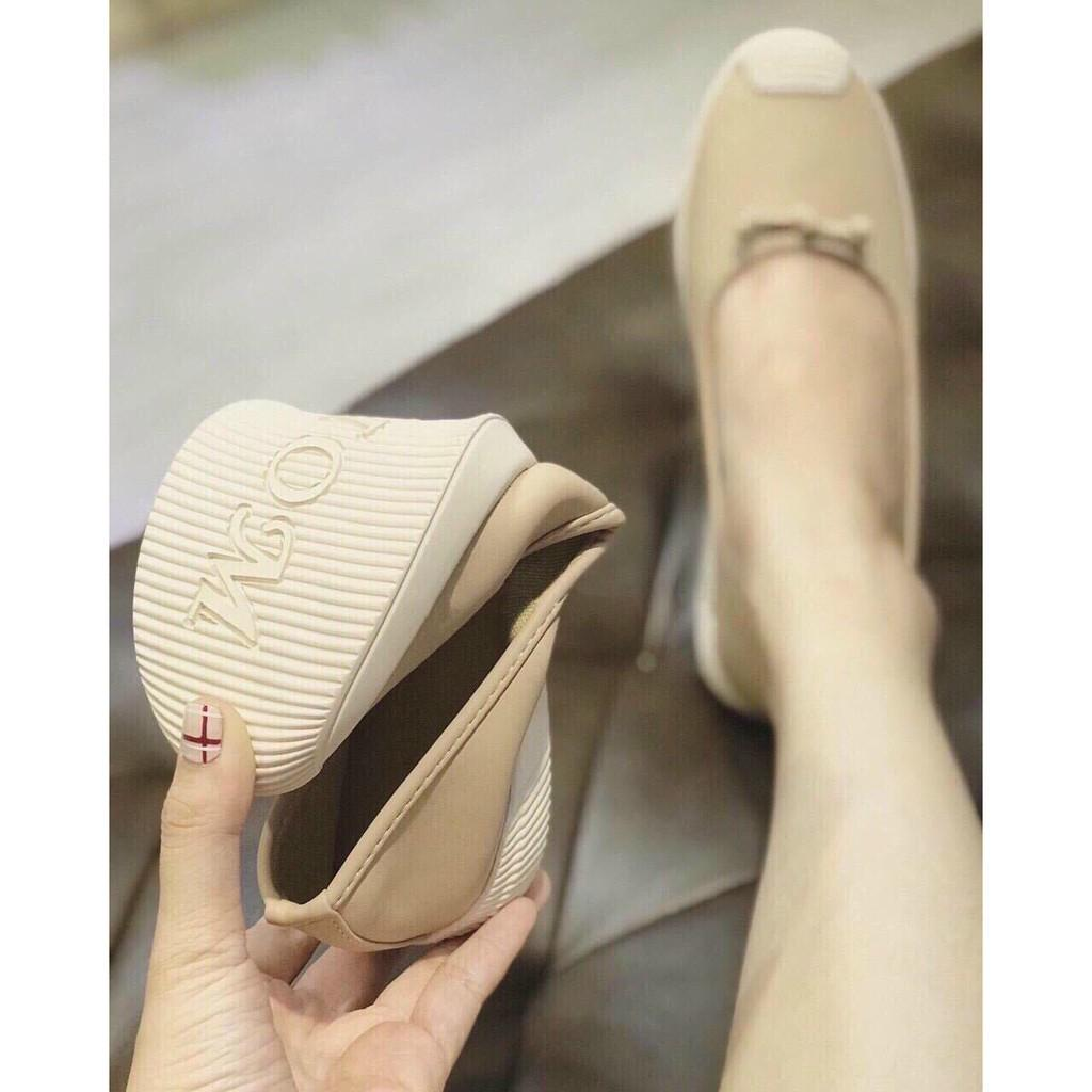 Giày bệt nơ thắt nhỏ đen hồng mũi trắng