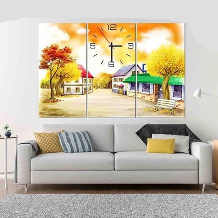 Tranh treo tường, tranh đồng hồ DH314A bộ 3 tấm ghép