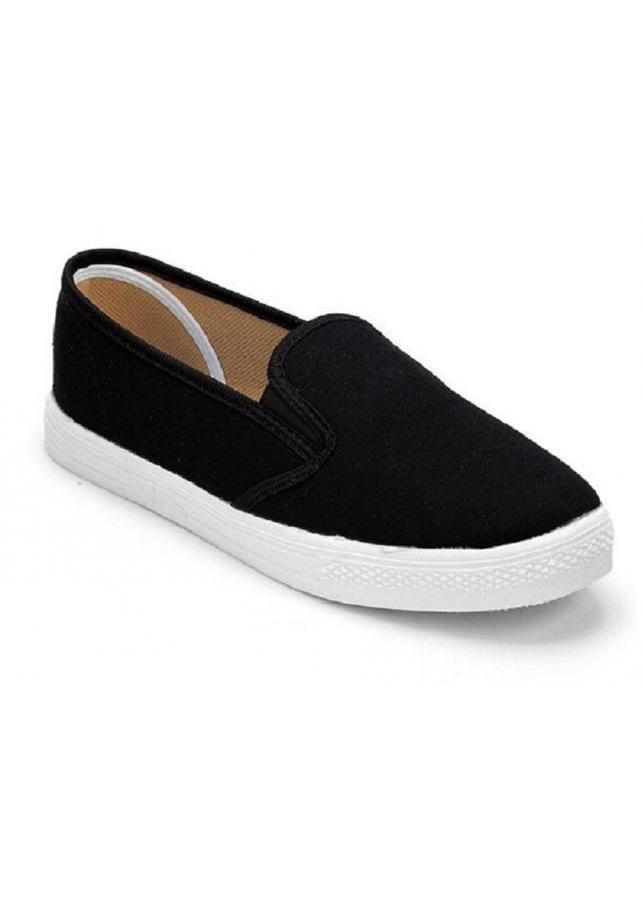 Giày slip on vải trơn màu đen S171