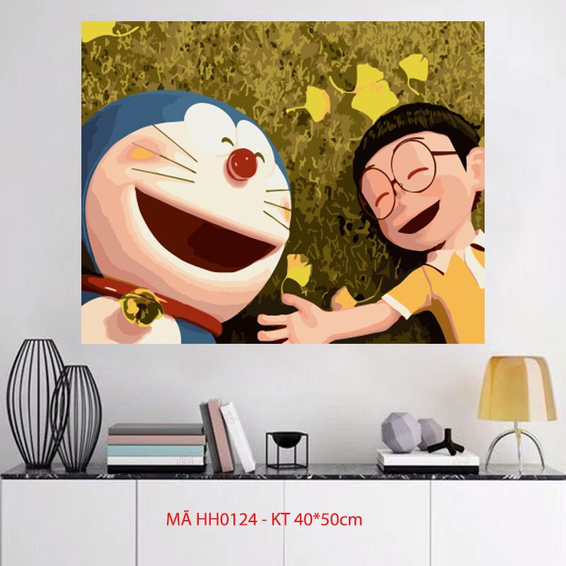 Tranh tô màu theo số sơn dầu số hóa Tranh hoạt hình Anime Tình bạn Doraemon và Nobita mã HH0124