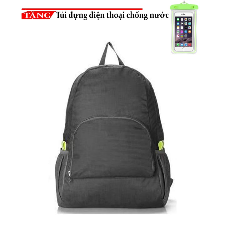 Balo phượt du lịch mẫu mớ vải Dù xếp gọn K0124 Tăng túi đứng điện thoại chống nước