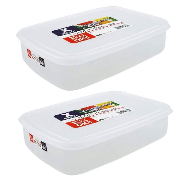 Combo 02 Hộp bảo quản thực phẩm 2600ml hình chữ nhật dẹt - Nội địa Nhật