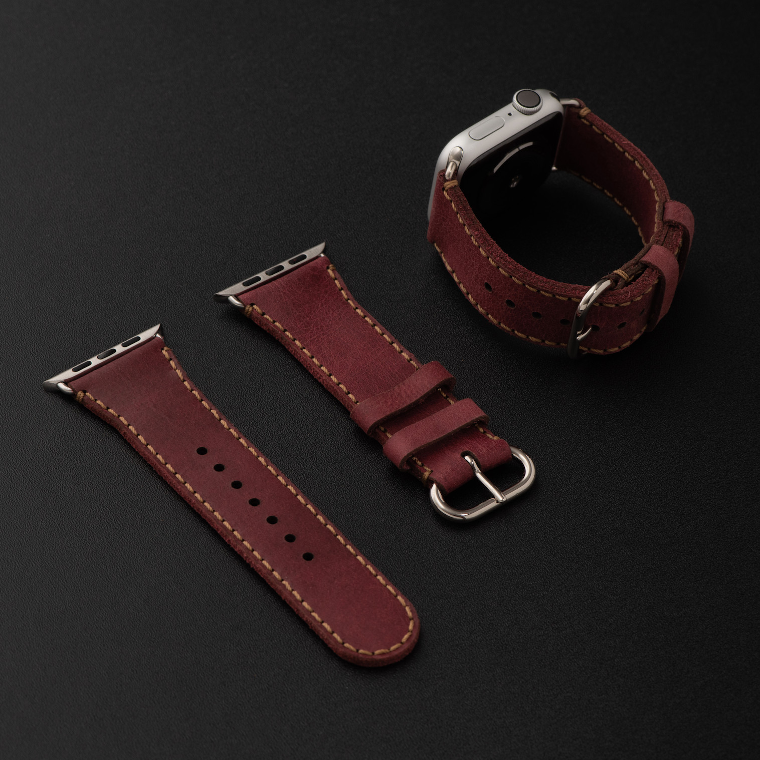 Dây da đồng hồ SEN Apple Watch size 38/40 - CHÍNH HÃNG KHACTEN.COM - ĐỎ SẬM  - 195 - ADAPTER BẠC