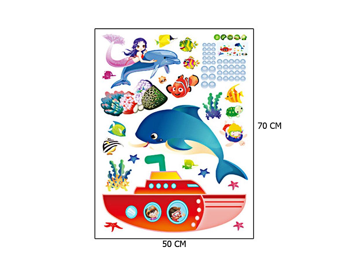 decal dán tường tàu ngầm và nàng tiên cá đại dương