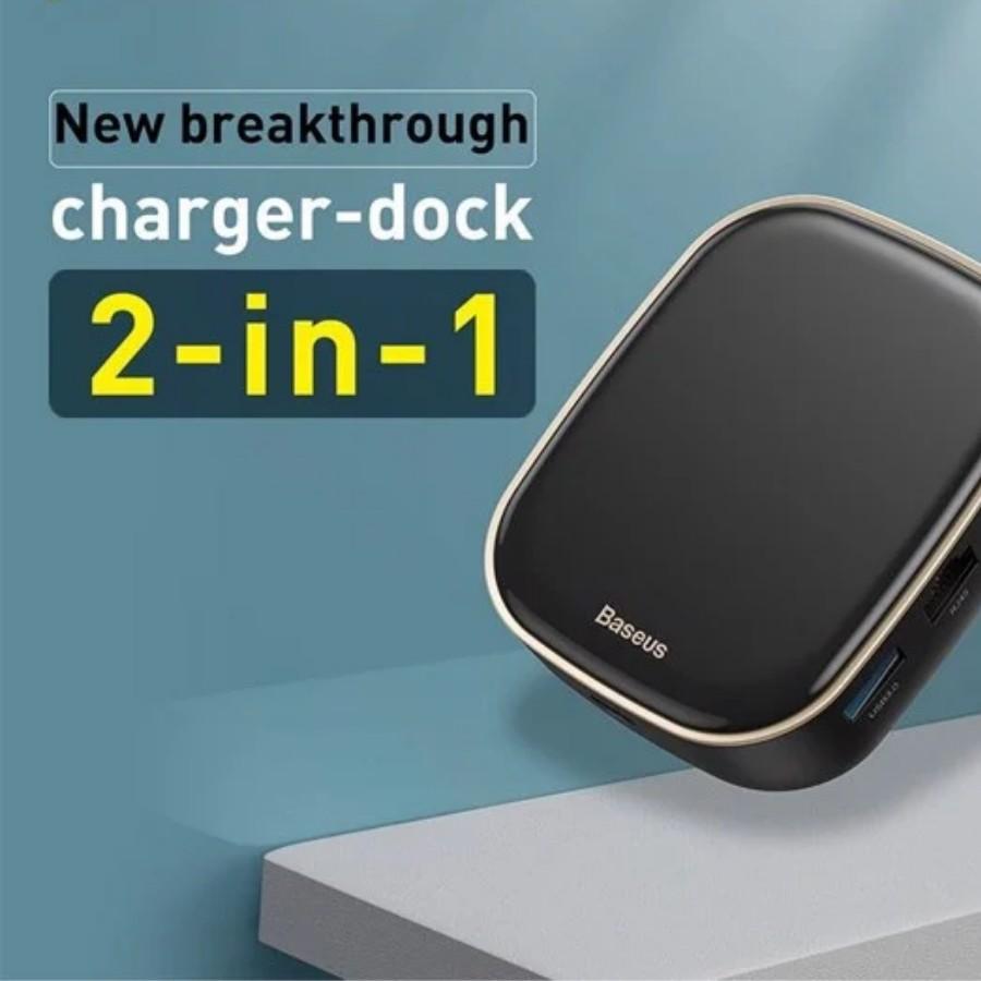 Bộ Hub mở rộng 7 in 1 tích hợp sạc 60W Baseus Type-C HUB Adapter AC Multifunctional Charger - Hàng chính hãng
