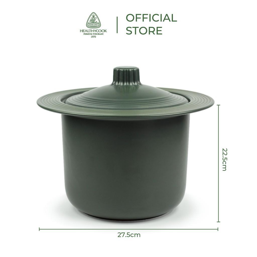 Nồi sứ dưỡng sinh Minh Long thân đứng 4.0 L + nắp dùng cho bếp từ