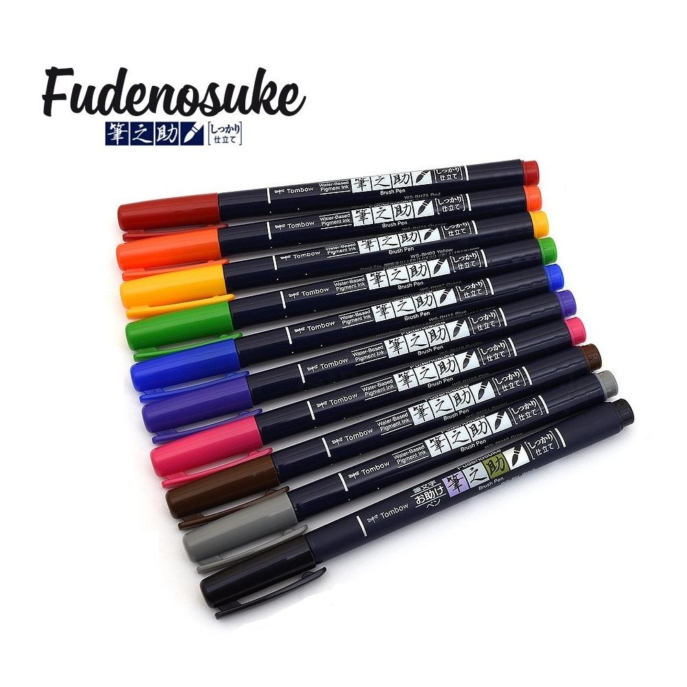 Bộ 10 Bút viết thư pháp TOMBOW FUDENOSUKE chuyên viết Hán tự Brush Lettering dòng màu sắc