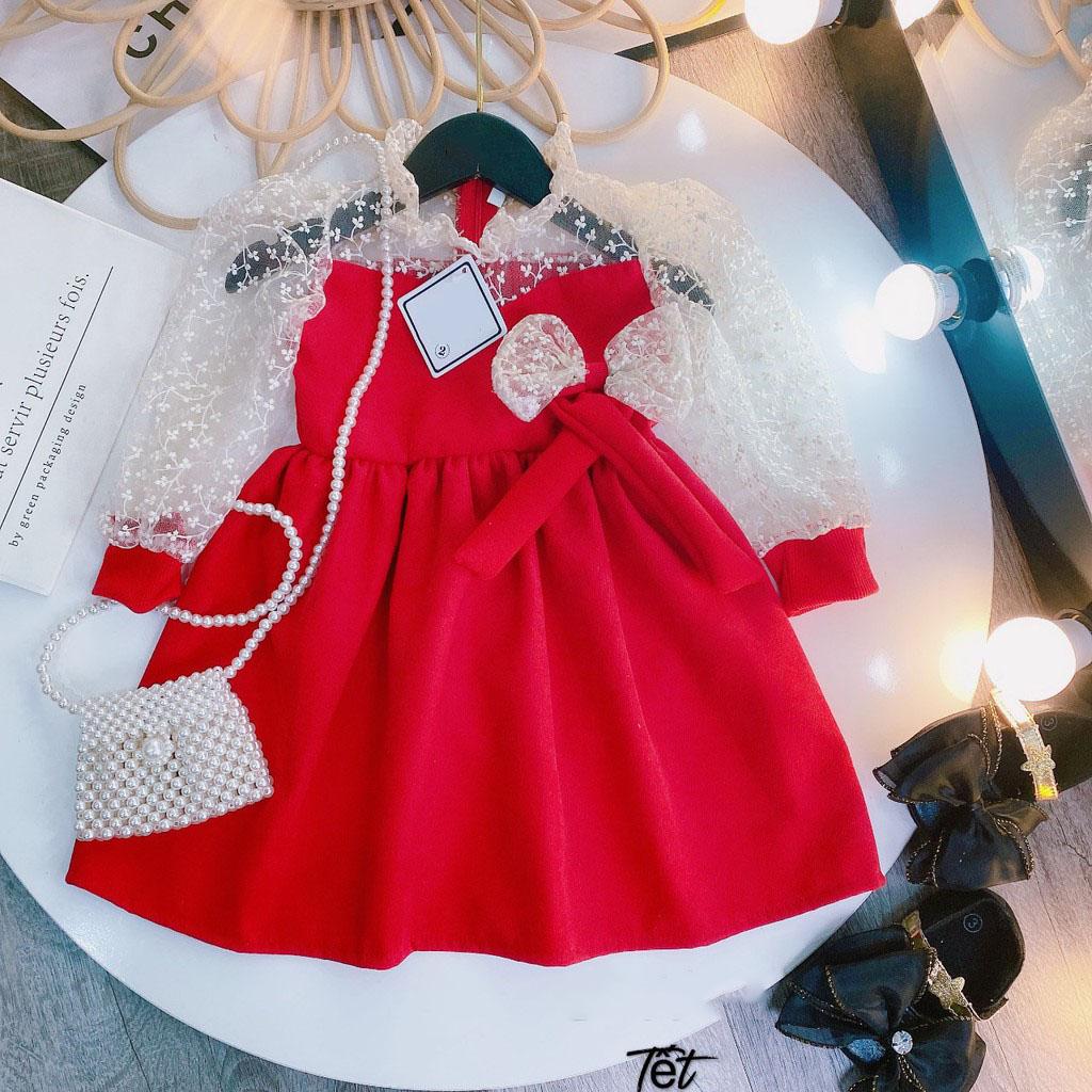 Váy nhung dài tay phối ren nơ eo cho bé gái diện tết siêu xinh