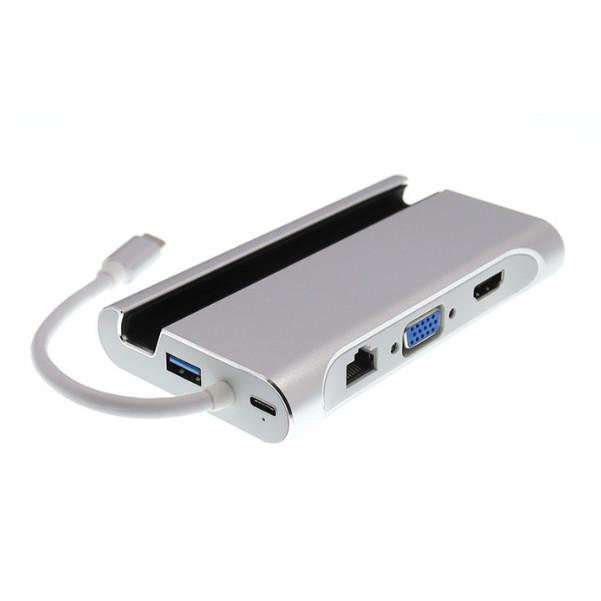 Cáp USB Type-C to HDMI / VGA / Lan + USB 3.0 All in One