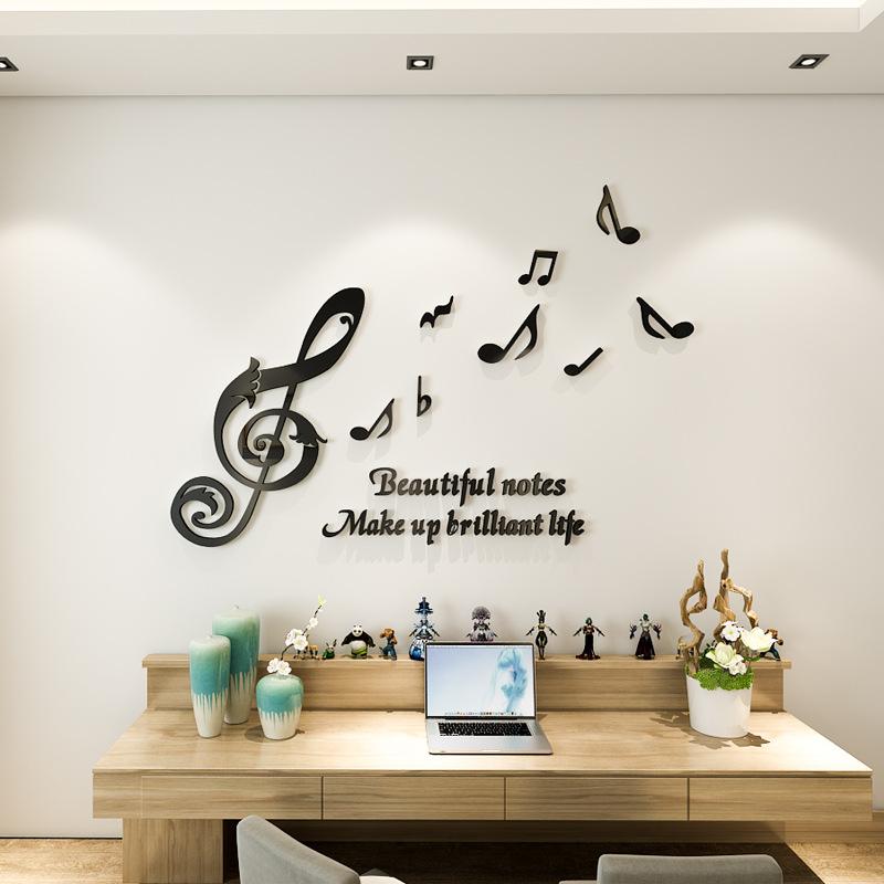 Tranh Nốt Nhạc Tình Yêu Tranh Mica 3D Trang Trí Dán Tường