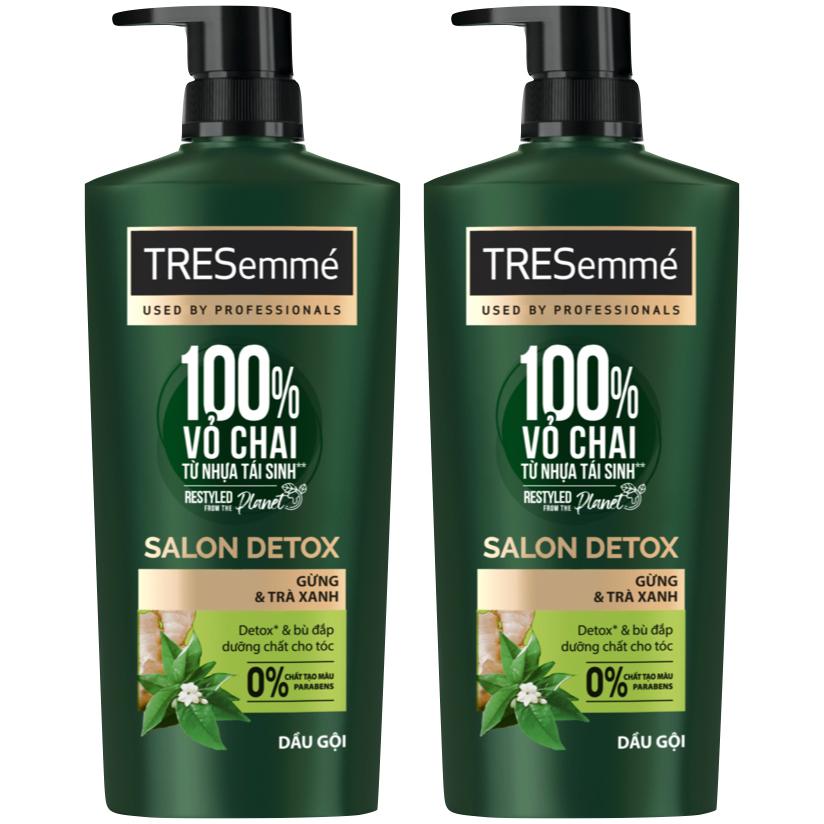 Combo 2 Dầu Gội Tresemmé Salon Detox Gừng Và Trà Xanh Detox Tóc Chắc Khỏe 640Gr
