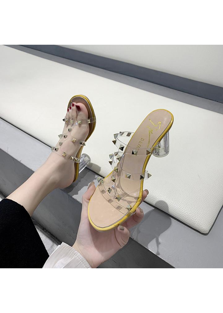 Giày dép xăng đan nữ quai trong gắn đá phong cách Hàn Quốc