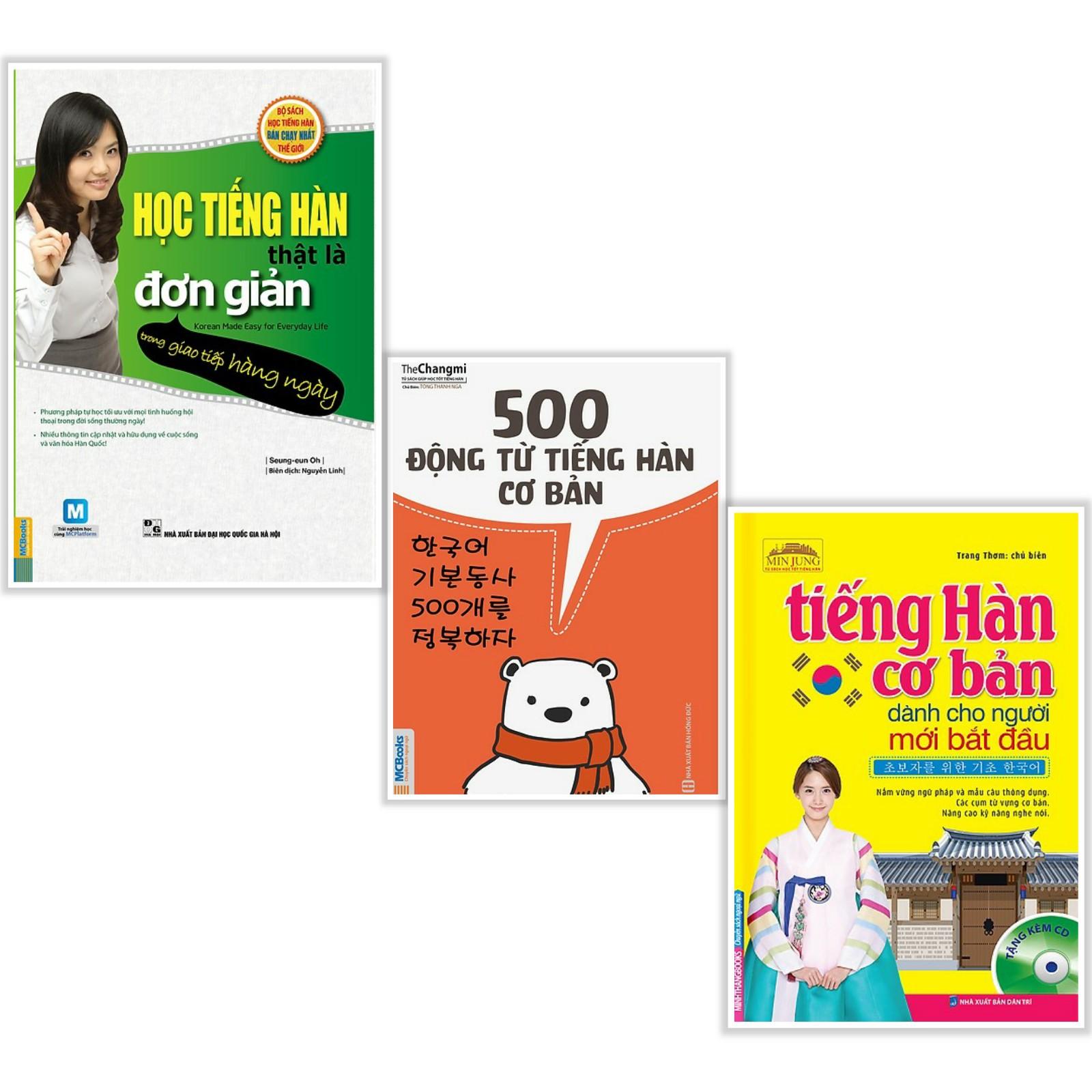 Combo Sách Tiếng Hàn Học Tiếng Hàn Thật Là Đơn Giản  500 Động Từ Tiếng Hàn Cơ Bản  Tiếng Hàn Cơ Bản Dành Cho Người Mới Bắt Đầu 3 cuốn - Tặng kèm Bookmark Happy Life
