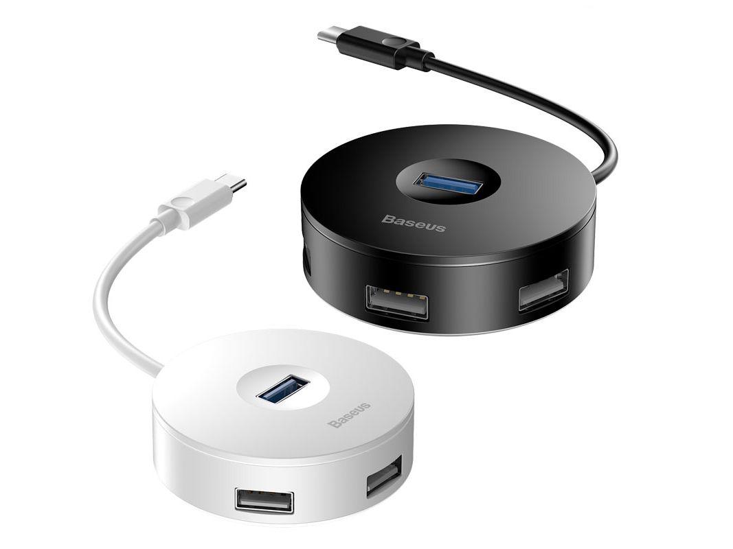 HUB 4 in1 - Hub chuyển đổi USB Type-A sang USB 3.0 -  Baseus Round Box (hỗ trợ ổ đĩa)- Hàng Chính Hãng