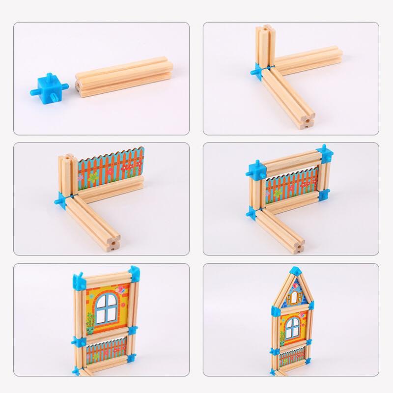 Bộ lắp ghép nhà gỗ 3D cho bé