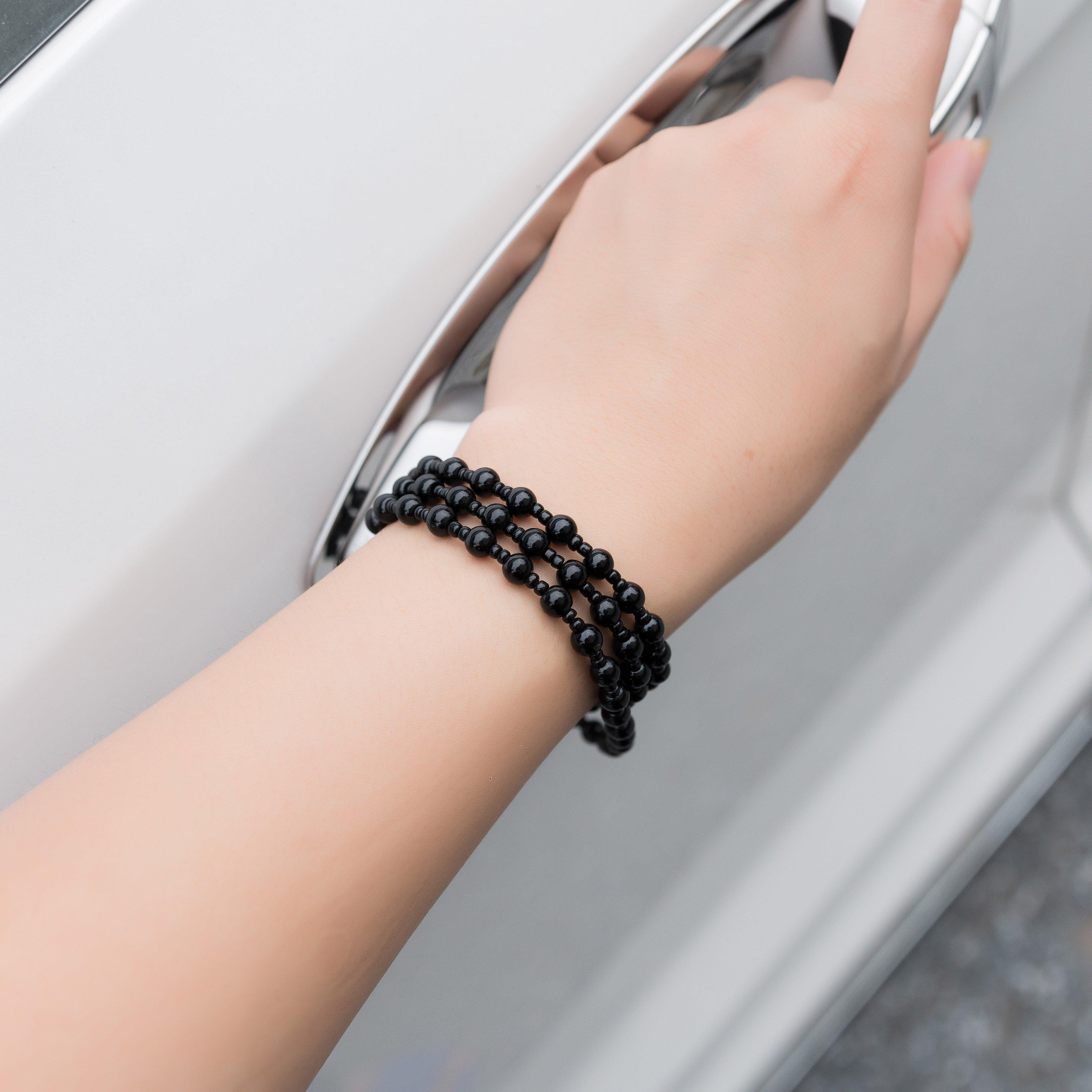 Vòng chuỗi hạt đeo tay phong thủy đá Obsidian phát lộc dành cho nam nữ