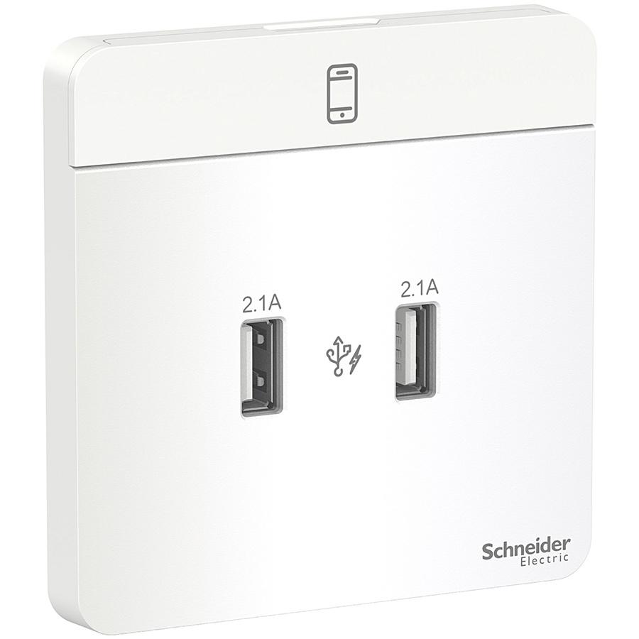Bộ ổ sạc USB đôi 2.1A, Schneider Electric dòng AvatarOn