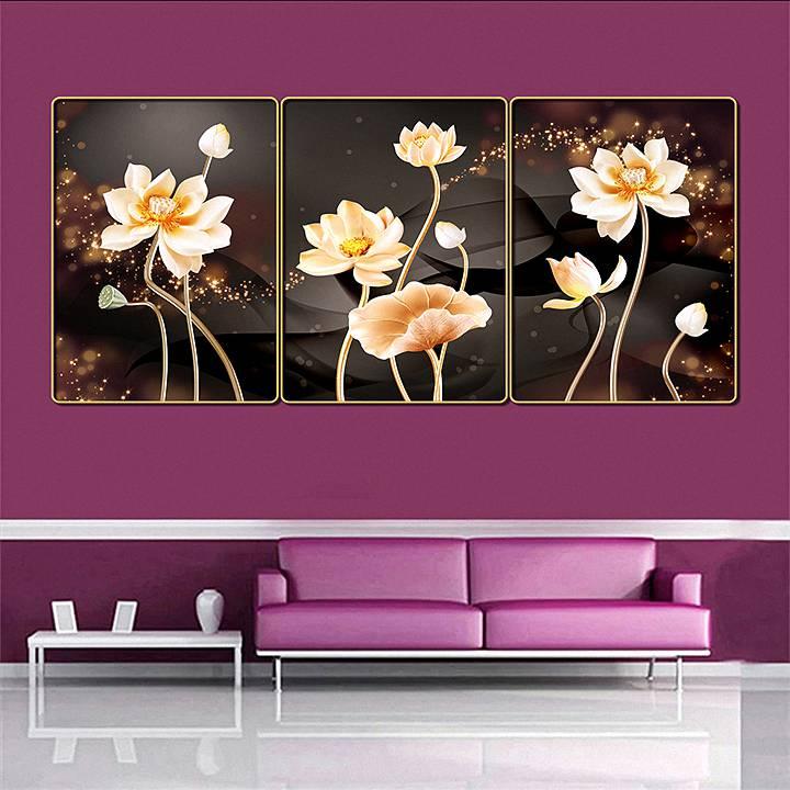 Bộ tranh treo tường 3 tấm trang trí phòng khách, phòng ngủ phong cách mỹ thuật hiện đại chất liệu cán pvc gương:4435L15S